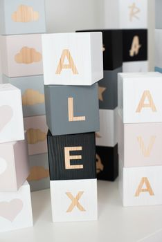 Personalised Name Building Blocks, Baby Name Blocks, Wooden Baby Blocks, Diy Letters, Wooden Letters, Wooden Diy, Handmade Wooden, Baby Building Blocks, Play Cube, Wood Block Crafts