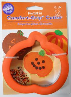 "Wilton pumpkin cookie cutter NWT stainless steel rubber comfort grip top 4"" sq #Wilton"