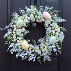 """Features Easter Egg Wreath Available in 26"""" x 6"""" 30"""" x 6"""" Life-like botanical & floral Indoor or Outdoor Use Designed, Handcrafted in Ohio We love the holidays at Darby Creek Trading and what better way to celebrate then with a festive wreath to great your guests!Our Whimsical Easter's Magic Pastel Glitter Sparkle Diy Easter Decorations, Decorating For Easter, Easter Wreaths Diy, Holiday Wreaths, Easter Celebration, Easter Crafts, Holiday Crafts, Easter Ideas, Door Wall"""