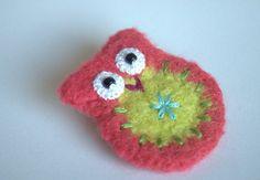 Felted crochet owl brooch felted wool owl pin