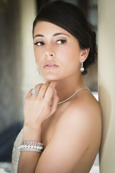 Model, Luiza Venturim wearing diamond & pearl bridal jewellery by Phillip Stoner the Jeweller.