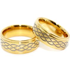 Infinity Wedding Bands Sets | Tungsten Rings, Gold Plated Celtic Infinity Design Wedding Bands Set ...
