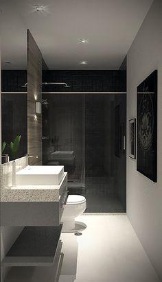 Projeto do escritório Atelier da Reforma - Banheiro do homem - Render SketchUp + V_ray