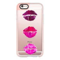 iPhone 6 Plus/6/5/5s/5c Case - Ombré Lips (Fashion Illustration... ($40) ❤ liked on Polyvore featuring accessories, tech accessories, iphone case, transparent iphone case, iphone hard case and apple iphone cases