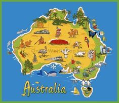 Australia has it all… beaches, jungles, mountains, deserts, and cities. anybody can go and have a great time. Posters Australia, Australia Map, Victoria Australia, Travel Logo, Travel Maps, Travel Posters, Travel Stamp, Road Trip Packing, Packing Tips For Travel