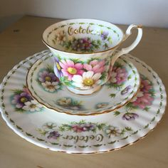 """Royal Albert """"Cosmos"""" October Flower of the Month Series Vintage Teacup Saucer Plate, Floral English China Tea Cup Trio, Birthday Gift by CupandOwl on Etsy"""