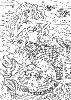 Princess Mermaid Adult Coloring Pages Adult ColouringUnder