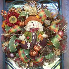 Scarecrow Fall Deco Mesh Wreath by myfriendbo on Etsy
