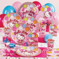 A purrrrfectly wonderful party theme for your Hello Kitty fan! Includes 8 invitations, dinner plates, cups, forks, spoons, activity placemats, 16 napkins, Hello Kitty Balloon Dreams tablecover, centerpiece, foil balloon, 18 balloons (3 colors), crepe paper rolls (3 colors), curling ribbon (3 colors), star confetti and cake candles