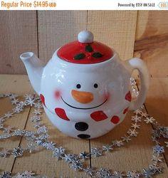 X-mas in July Sale Vintage Mini Snowman Teapot by MyVintageHippie