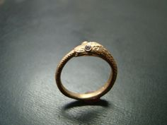 Beautiful and Unique 14k gold ouroborus snake ring with by Xidni
