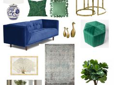 Modern Green and Blue Living Room Mood Board – Loving the Simple Things Blue And Gold Living Room, Green Ottoman, Green Velvet Fabric, Gold Wall Decor, Gold Pillows, Geometric Pillow, Gold Walls, Simple Things, Apartment Living