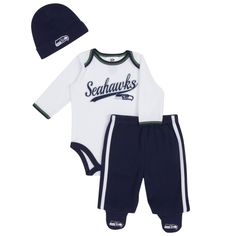Seattle Seahawks Gerber Newborn Onesie Footed Pants & Hat Set - White