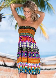 Aztec Multi Tribal smocked dress from VENUS. Available in sizes S-XL!