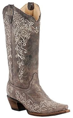 Corral® Ladies Distressed Brown w/ Bone Embroidery Snip Toe Western Boots   Cavenders Boot City