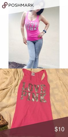 Victoria's Secret tank top.  Small Pink shirt, silver glitter PINK Victoria's Secret Tops