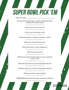 Printable Super Bowl Party Game - Wit & Wander This Super Bowl Party Game is perfect for the Big Game. It is an easy competition perfect for football lovers and commercial watchers. All the questions can be answered before half time so that parents of little ones can leave the party early or just enjoy the rest of the football game