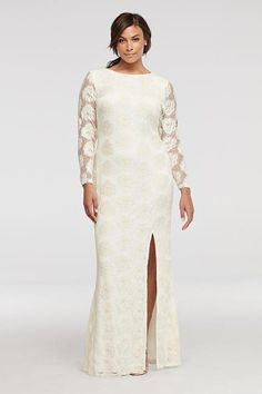 bfd617b8ee501 A stunning lace dress for that truly special event! Long floor length dress  with floral lace pattern has long illusion sleeves and v-neck back. Skirt  ...