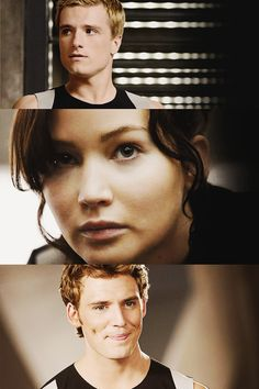 josh hutcherson, jennifer lawrence, and sam claflin. ♥♥