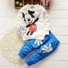 Mode-stil kinder Kleidung Babykleidung Stellt Mickey Mouse Baumwolle langarm 2 stücke Junge/Mädchen Kleidung