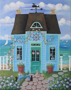 Mare vetro Cottage Folk Art Print di KimsCottageArt su Etsy