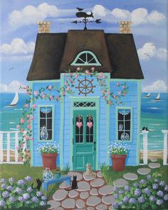 Hey, I found this really awesome Etsy listing at https://www.etsy.com/listing/194279613/sea-glass-cottage-original-folk-art