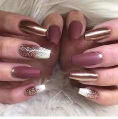 Dark Gold and Matte Burgundy Nail Art Design