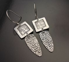 Modern Age Heiroglyphics Framed  Silver Earrings by designsbysuzyn, $80.00