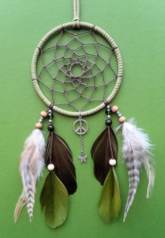 Dream Catcher  Peace  Green and Brown  by The Modern Dreamer, $30.00