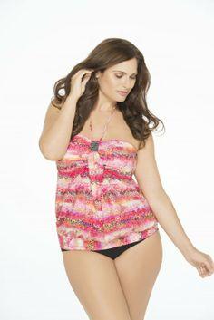 185dd9e918868 Christina Plus Size Instant Attraction Bandeau Blousant Tankini Top Junior  Plus Size Swimwear, Plus Swimwear
