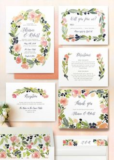 Watercolor wreath wedding invitations by @Minted www.minted.com/...