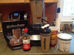Chocolate cheesecake oat shakeology   1C. Unsweetened almond milk, 1scoop chocolate shakeology, drop vanilla extract, 1 tblsn raw steel cut oats, 2/3 tblsn plain Greek yogurt and ice