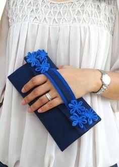 Envío gratis embrague azul flor monedero declaración azul