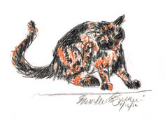 The Creative Cat - Daily Sketch Reprise: Kelly Scratching, 2012 and Round and Round, 2013