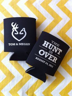 The Hunt is Over Wedding Koozies, Country themed wedding koozies, Deer antler koozies, Hunt Over theme koozies by RookDesignCo on Etsy
