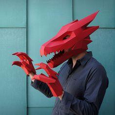 DIY, Low Poly, Animal Masks by Wintercroft. Papercraft Handmade Masks for Halloween. dragon mask