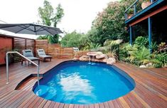 Above Ground Pools Decks Idea | Set into a deck, this modular above-ground pool from Zodiac Group was ...