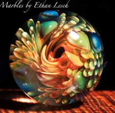 24KT GOLD HANDMADE MARBLE SIGNED BY ~ETHAN LESCH~  BOROSILICATE, BORO, ART
