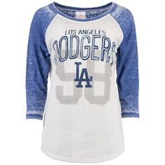 5th & Ocean by New Era Los Angeles Dodgers Women's White All-Time Fan Burnout Wash Raglan Tee