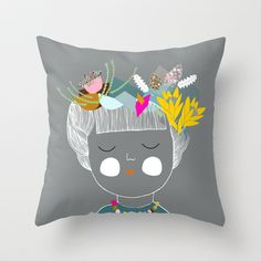colourful day Throw Pillow by Doops Designs - $20.00
