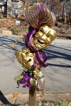New Orleans Mardi Gras wreath swag deco mesh comedy by rhmnola74, $80.00