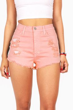 "High waisted color denim shorts with distressing on the front with fraying edges. Traditional 5 pockets zip fly and button closure. Runs small. *Machine Wash Cold *98% Cotton 2% Spandex *11""/28 cm Top"