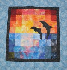 sunset frolic dolphins quilt square applique