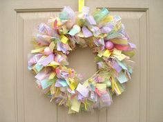 Easter Wreath Spring Wreath Ribbon Wreath Fabric by Spring Crafts, Holiday Crafts, Holiday Fun, Hoppy Easter, Easter Eggs, Fabric Wreath, Fabric Ribbon, Tulle Wreath, Burlap Wreaths