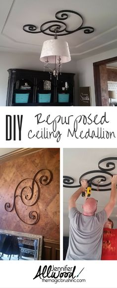 Turn an old Pottery Barn wall hanging into a repurposed ceiling medallion. Post from the Magic Brush www.themagicbrushinc.com
