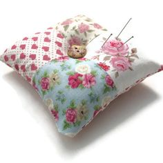 Pin Cushion Patchwork Floral Shabby Chic Pin Cushion Pink and Blue. $9.00, via Etsy.