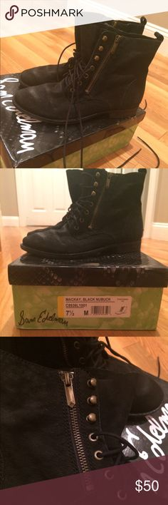 Sam Edelman Mackay Boots Cute black ankle boots with zippers and long laces that can be wrapped around ankles. Near perfect condition, only worn a couple of times! Size 7.5 but fits size 7-8. Comes with original box. Sam Edelman Shoes Ankle Boots & Booties