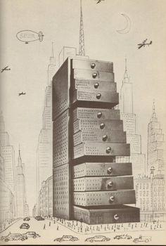 Saul Steinberg. Drawer-Building. The Passport. 1954