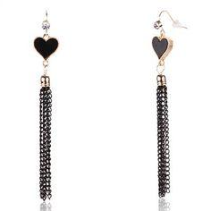 NAUTİLUS - Siyah, Zincir Saçaklı Kalp Küpe, 14.90 TL ürün no: 1651983 @ Brand-Store.com