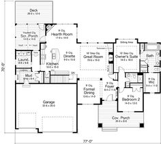Craftsman Ranch Traditional House Plan 42509 Level One 2311 sq ft Lake House Plans, House Plans And More, Ranch House Plans, Cottage House Plans, Dream House Plans, Cottage Homes, House Floor Plans, Dream Houses, Farm House